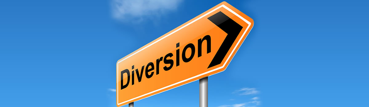 Sign with the word Diversion on it